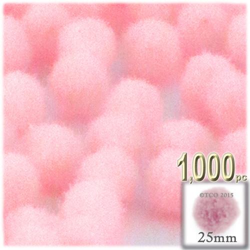 Acrylic Pom Pom, 25mm, 1,000-pc, Light Pink