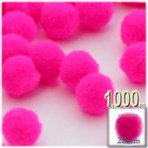 Acrylic Pom Pom, 25mm, 1,000-pc, Neon Pink