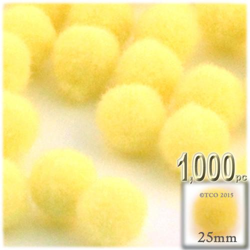 Acrylic Pom Pom, 25mm, 1,000-pc, Yellow