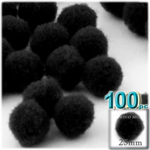 Acrylic Pom Pom, 25mm, 100-pc, Black