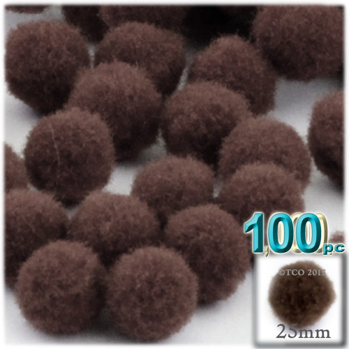 Acrylic Pom Pom, 25mm, 100-pc, Coffee Brown