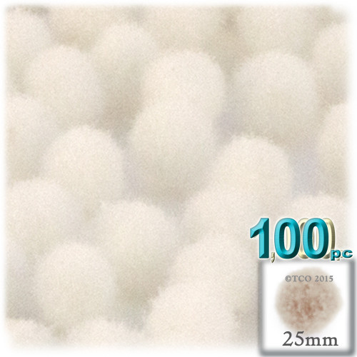 Acrylic Pom Pom, 25mm, 100-pc, Cream