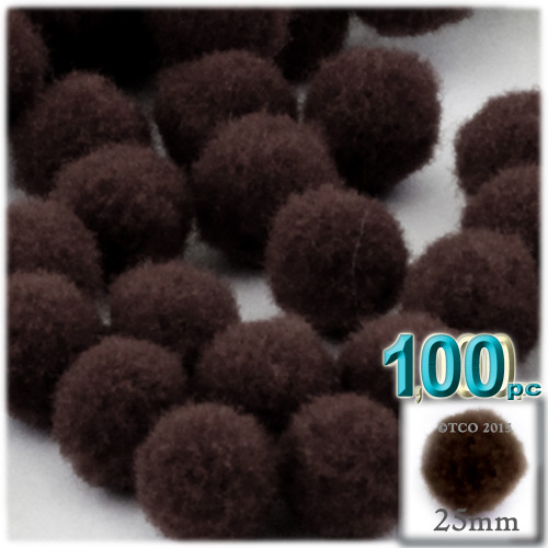 Acrylic Pom Pom, 25mm, 100-pc, Dark Brown