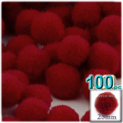 Acrylic Pom Pom, 25mm, 100-pc, Dark Red