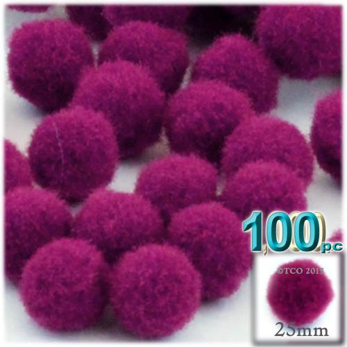Acrylic Pom Pom, 25mm, 100-pc, Fuchsia