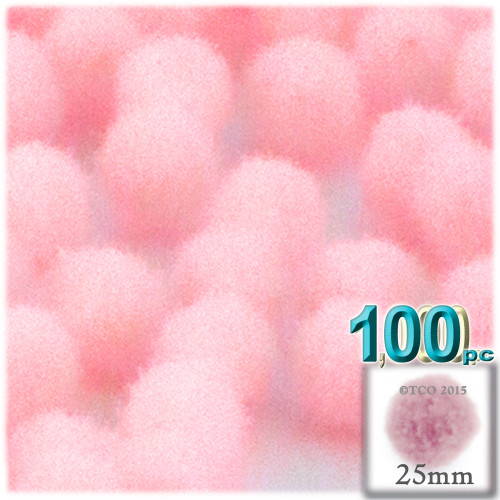 Acrylic Pom Pom, 25mm, 100-pc, Light Pink