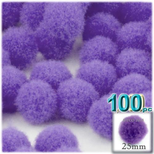Acrylic Pom Pom, 25mm, 100-pc, Light Purple