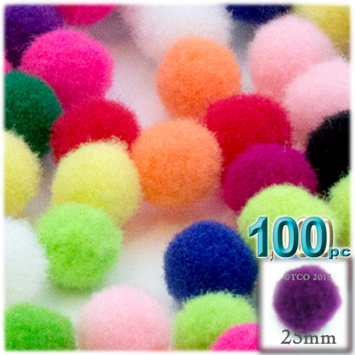 Acrylic Pom Pom, 25mm, 100-pc, Multi Mix
