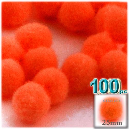 Acrylic Pom Pom, 25mm, 100-pc, Neon Orange