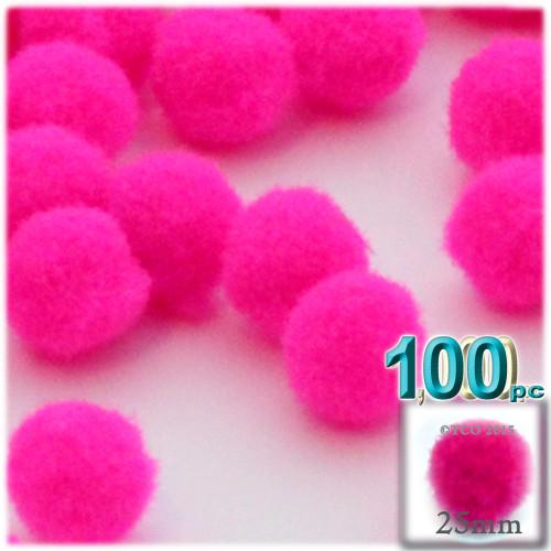 Acrylic Pom Pom, 25mm, 100-pc, Neon Pink