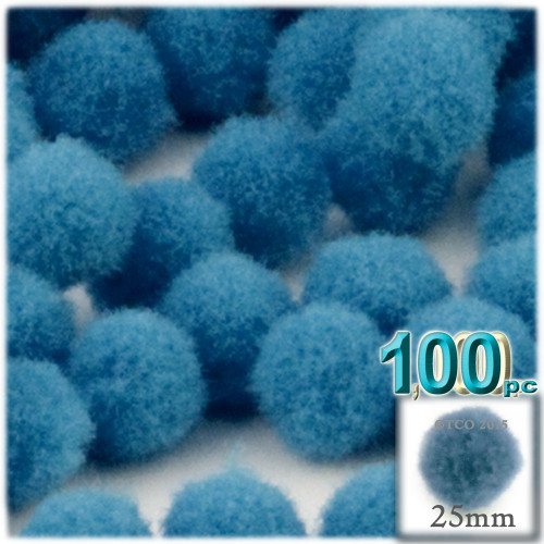 Acrylic Pom Pom, 25mm, 100-pc, Ocean Blue