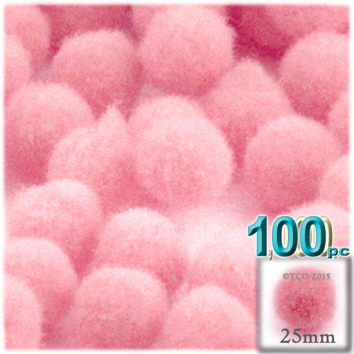 Acrylic Pom Pom, 25mm, 100-pc, Pink