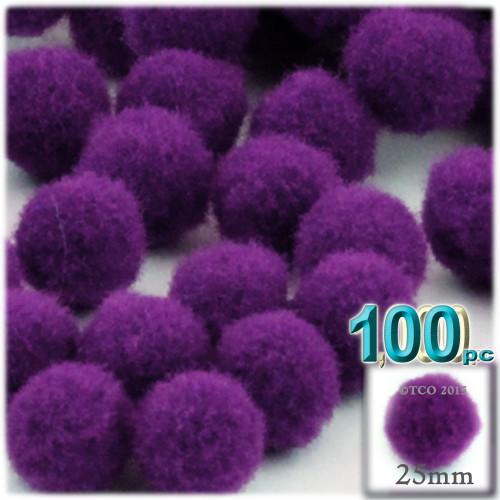 Acrylic Pom Pom, 25mm, 100-pc, Purple