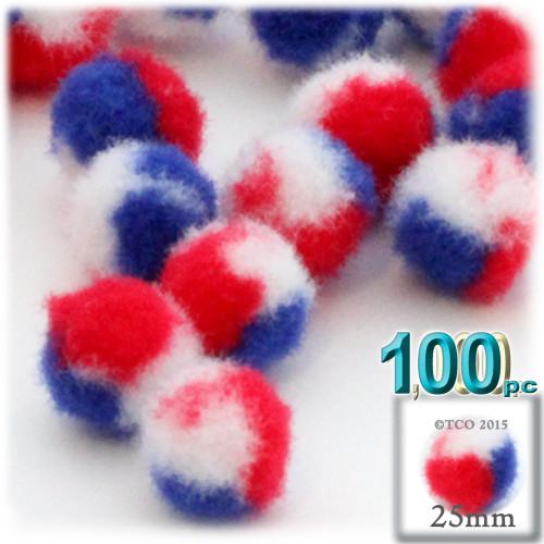 Acrylic Pom Pom, 25mm, 100-pc, Tri-Color Red White and Blue