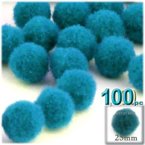 Acrylic Pom Pom, 25mm, 100-pc, Turquoise Blue