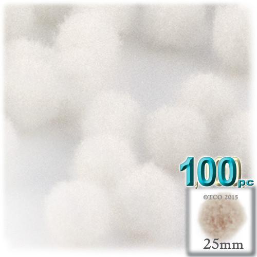 Acrylic Pom Pom, 25mm, 100-pc, White