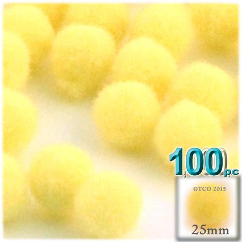 Acrylic Pom Pom, 25mm, 100-pc, Yellow