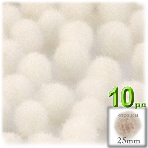 Acrylic Pom Pom, 25mm, 10-pc, Cream