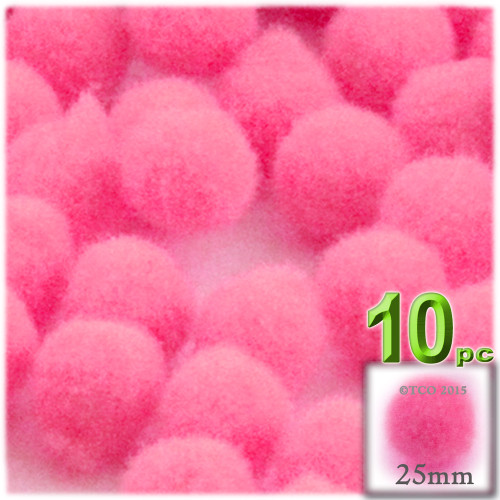 Acrylic Pom Pom, 25mm, 10-pc, Hot Pink