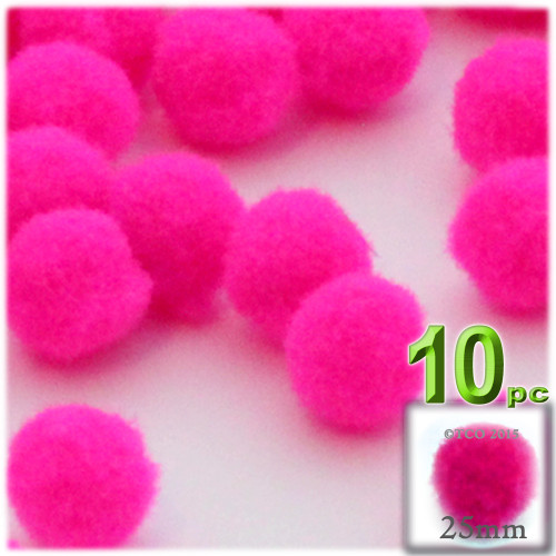 Acrylic Pom Pom, 25mm, 10-pc, Neon Pink
