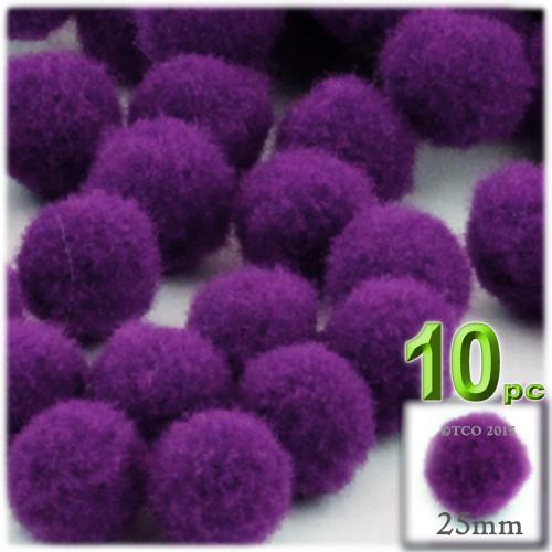 Acrylic Pom Pom, 25mm, 10-pc, Purple