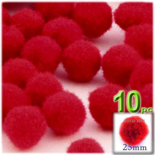 Acrylic Pom Pom, 25mm, 10-pc, Red