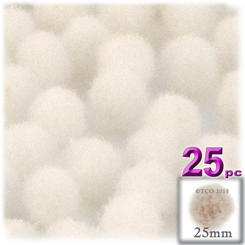Acrylic Pom Pom, 25mm, 25-pc, Cream