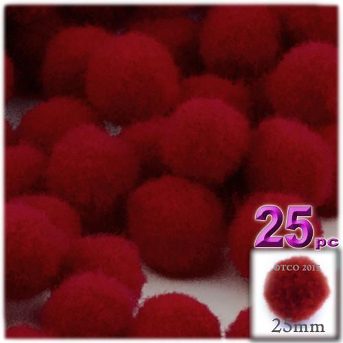 Acrylic Pom Pom, 25mm, 25-pc, Dark Red