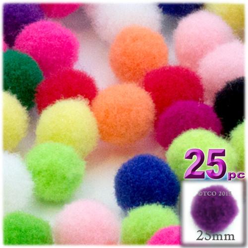 Acrylic Pom Pom, 25mm, 25-pc, Multi Mix