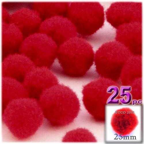 Acrylic Pom Pom, 25mm, 25-pc, Red