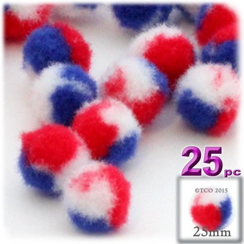 Acrylic Pom Pom, 25mm, 25-pc, Tri-Color Red White and Blue