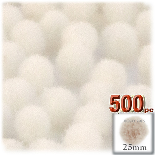 Acrylic Pom Pom, 25mm, 500-pc, Cream
