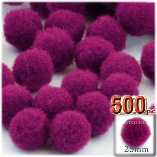 Acrylic Pom Pom, 25mm, 500-pc, Fuchsia