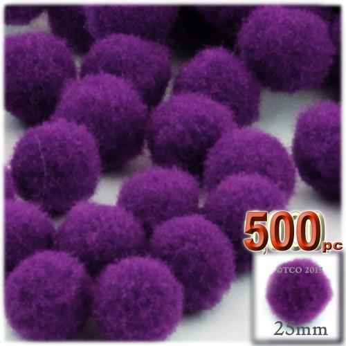 Acrylic Pom Pom, 25mm, 500-pc, Purple