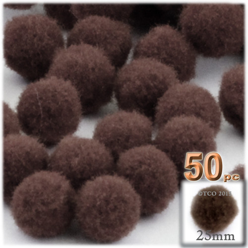 Acrylic Pom Pom, 25mm, 50-pc, Coffee Brown