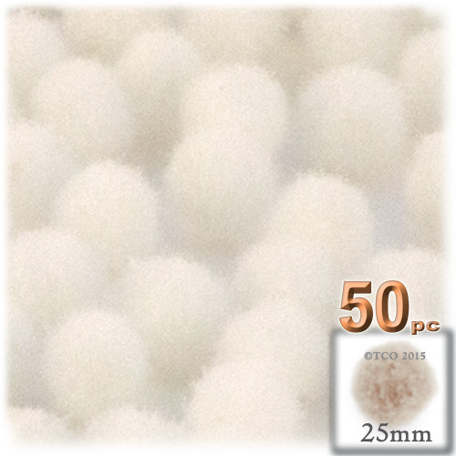 Acrylic Pom Pom, 25mm, 50-pc, Cream