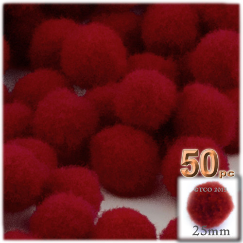 Acrylic Pom Pom, 25mm, 50-pc, Dark Red