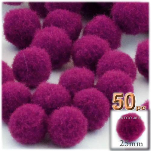 Acrylic Pom Pom, 25mm, 50-pc, Fuchsia