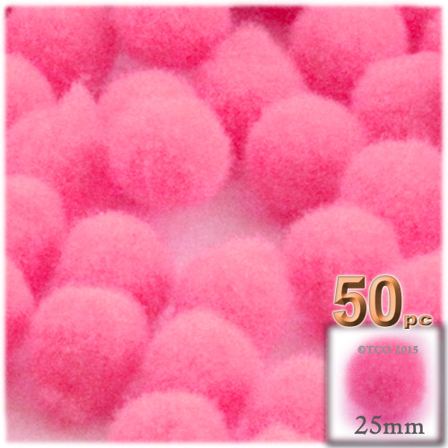 Acrylic Pom Pom, 25mm, 50-pc, Hot Pink