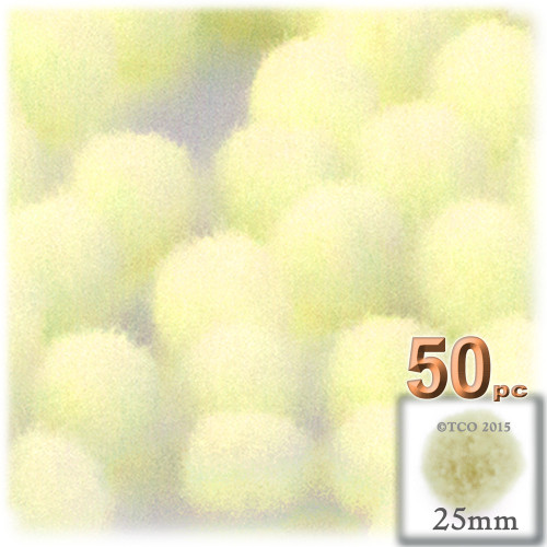 Acrylic Pom Pom, 25mm, 50-pc, Light Yellow