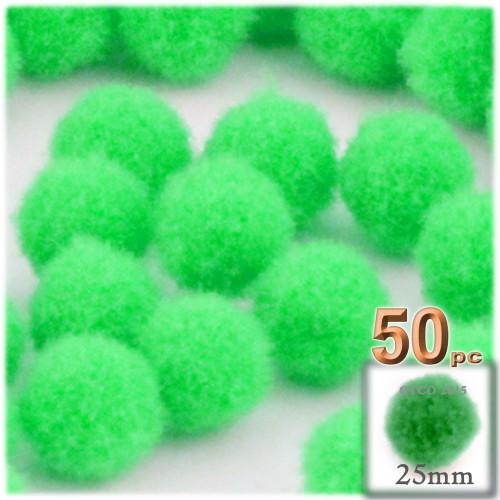 Acrylic Pom Pom, 25mm, 50-pc, Lime Green
