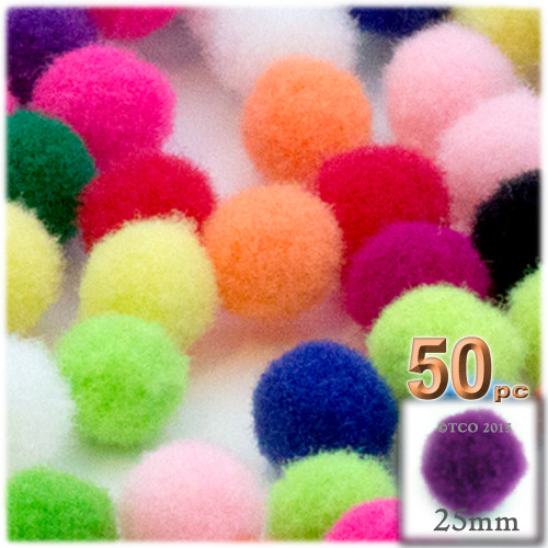 Acrylic Pom Pom, 25mm, 50-pc, Multi Mix