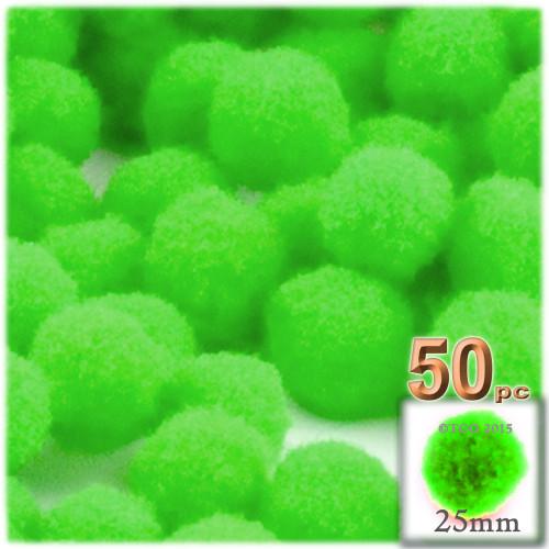 Acrylic Pom Pom, 25mm, 50-pc, Neon Green