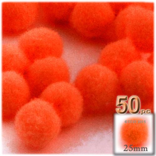 Acrylic Pom Pom, 25mm, 50-pc, Neon Orange