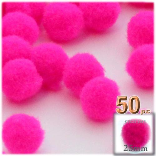 Acrylic Pom Pom, 25mm, 50-pc, Neon Pink