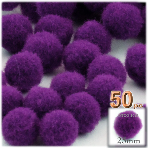 Acrylic Pom Pom, 25mm, 50-pc, Purple