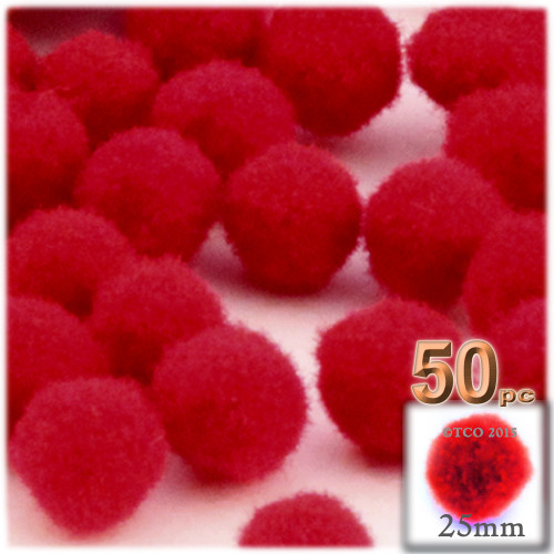 Acrylic Pom Pom, 25mm, 50-pc, Red