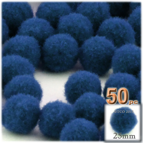 Acrylic Pom Pom, 25mm, 50-pc, Royal Blue