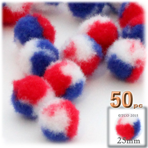 Acrylic Pom Pom, 25mm, 50-pc, Tri-Color Red White and Blue