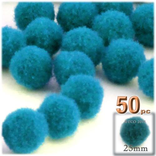 Acrylic Pom Pom, 25mm, 50-pc, Turquoise Blue